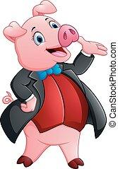 esmoquin, caricatura, cerdo