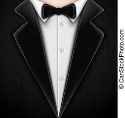 esmoquin, con, corbata de lazo