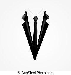 esmoquin, vector, corbata