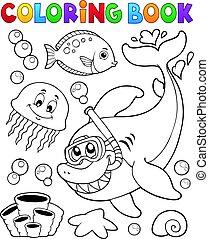 esnórquel, tiburón, colorido, buzo, libro