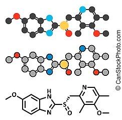 esomeprazole, peptisk mavesår, medicin, molekyle, (proton, pumpe, inhibitor).