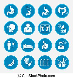 Esophageal cancer and stomach pain icons blue button