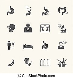 Esophageal cancer and stomach pain. Vector icons set