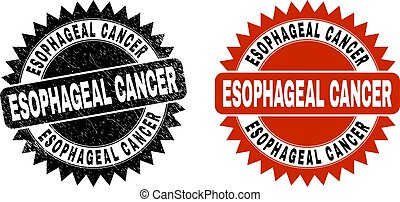 Black rosette ESOPHAGEAL CANCER seal stamp. Flat vector textured seal with ESOPHAGEAL CANCER text inside sharp rosette, and original clean template. Watermark with unclean texture.