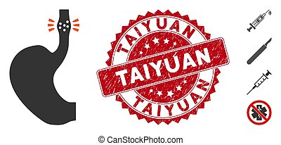 Vector esophageal cancer icon and distressed round stamp seal with Taiyuan text. Flat esophageal cancer icon is isolated on a white background. Taiyuan stamp seal uses red color and grunge texture.