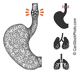 Mesh esophageal cancer polygonal web icon vector illustration. Carcass model is created from esophageal cancer flat icon. Triangle network forms abstract esophageal cancer flat model.