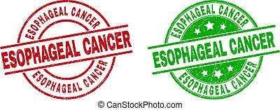 Round ESOPHAGEAL CANCER stamp badges. Flat vector scratched badges with ESOPHAGEAL CANCER caption inside circle and lines, using red and green colors. Stamp imprints with distress texture.