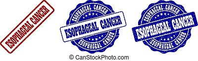 ESOPHAGEAL CANCER grunge stamp seals in red and blue colors. Vector ESOPHAGEAL CANCER imprints with grunge effect. Graphic elements are rounded rectangles, rosettes, circles and text labels.