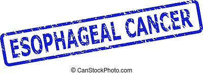 Blue ESOPHAGEAL CANCER stamp on a white background. Flat vector scratched watermark with ESOPHAGEAL CANCER message is inside rounded rectangle frame. Watermark with scratched surface.