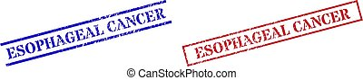 Grunge ESOPHAGEAL CANCER stamp seals in red and blue colors. Seals have rubber style. Vector rubber imitations with ESOPHAGEAL CANCER caption inside rectangle frame, or parallel lines.