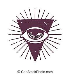 Esoteric eye rune symbol vector illustration