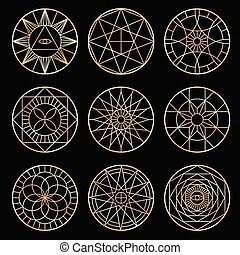 Esoteric geometric pentagrams. Spiritual sacred mystical vector symbols