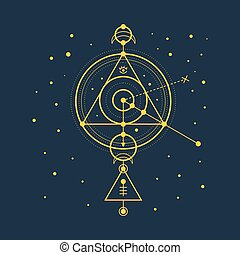 Esoteric sacred geomety vector on blue background