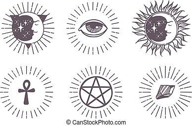 Esoteric symbols vector illustration.