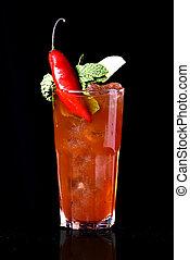 esotico, bevanda alcolica, sfondo nero, frutte