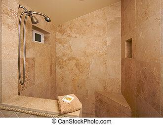 esotico, doccia, marmo