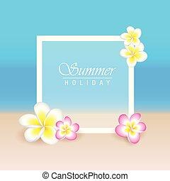 esotico, estate, fiori, frangipani, plumeria, fondo, vacanza, spiaggia