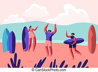 esotico, estate, sportivi, femmina, activity., sabbioso, ricreazione, sport, estate, festa, ozio, surf, appartamento, spiaggia., rilassare, resort., illustrazione, cartone animato, surfing, assi, spiaggia, sport, vettore, maschio
