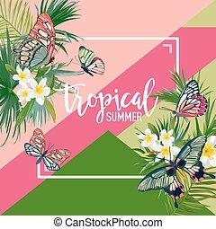 esotico, estate, t-shirt., bandiera, manifesto, butterflies., illustrazione, tropicale, acquarello, vettore, disegno, fondo, floreale, fiori