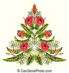 esotico, fatto, foglie, albero, palma, tropico, fiori, natale