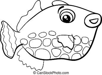 esotico, fish, coloritura, pagina