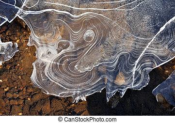 esotico, ghiaccio, formazioni, su, congelato, fiume
