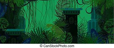 esotico, natura, fondo., legnhe, verde, selvatico