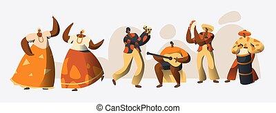esotico, parata, persone, ballo, nazionale, ballerino, costume, brasile, set., guitar., carattere, musica, brasiliano, vacanza, appartamento, gioco, donna, illustrazione, cartone animato, celebration., uomo, carnevale, tradizionale, vettore