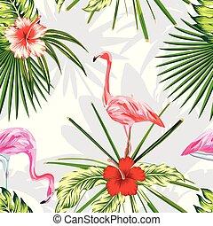 esotico, piante, fiori, luce, composizione, fondo, fenicotteri, uccelli