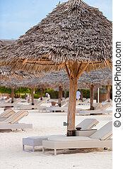 esotico, sedie, tropicale, spiaggia bianca, sabbioso