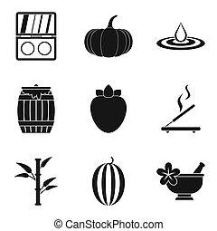 esotico, stile, icone, set, semplice, massaggio