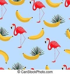 esotico, stile, moderno, banane, hawaiano, modello tessuto, carta da parati, seamless, giallo, leaves., tropicale, flamingo., giungla, fondo, piante, design., vector., print.
