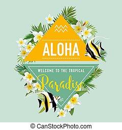 esotico, tropicale, moda, estate, fish, t-shirt, fondo., disegno, vector., fiori, graphic.
