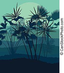 esotico, untamed, natura, illustrazione, foglie, erbe, vettore, foresta, fondo, erba selvaggia, paesaggio, giungla