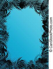 esotico, untamed, natura, manifesto, illustrazione, foglie, erbe, vettore, foresta, fondo, erba selvaggia, paesaggio, giungla