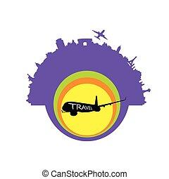 esotico, viaggiare, vettore, aeroplano