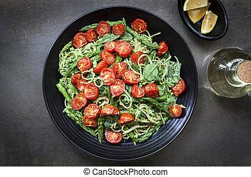 espárrago, tomates, pesto, asado, espaguetis