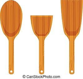 espátula madeira, jogo, ícone, cozinha