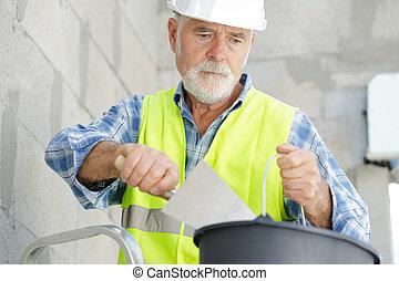 espátula, utilizar, maduro, constructor