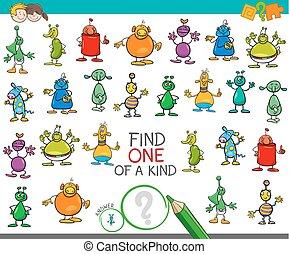 espèce, étrangers, une, jeu, caractères, trouver