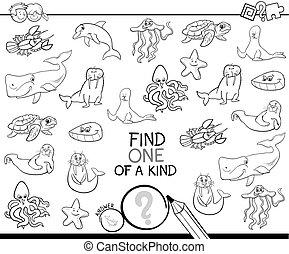 espèce, animaux colorent, une, jeu, livre, marin