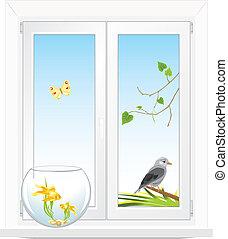 espèce, fenêtre, jardin