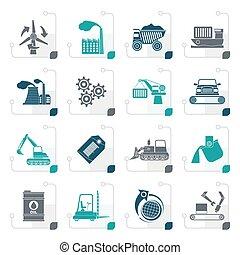 espèce, icones affaires, industrie, différent, stylisé