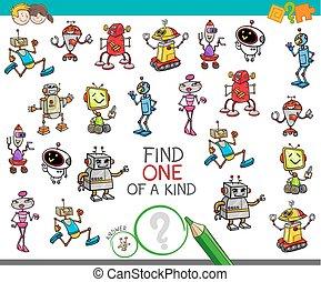 espèce, jeu, robot, caractères, une