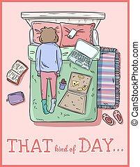 espèce, pms., fatigué, désordre, image, style, day., girl., comique, home.