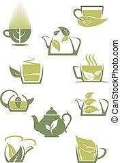 espèce, vert, ou, icônes