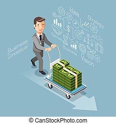 espèces., business, conceptuel, argent, pousser, charrette, style., plat, isométrique, homme affaires