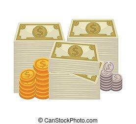 espèces., grand, concept, argent., tas