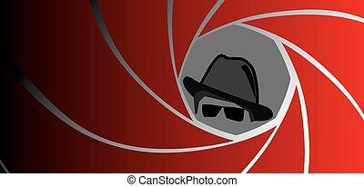 espía, agente, gángster, o, detective, en, sombrero de sombrero de fieltro