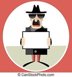 espía, hoja, resumen, ilustración, papel, vector, tenencia